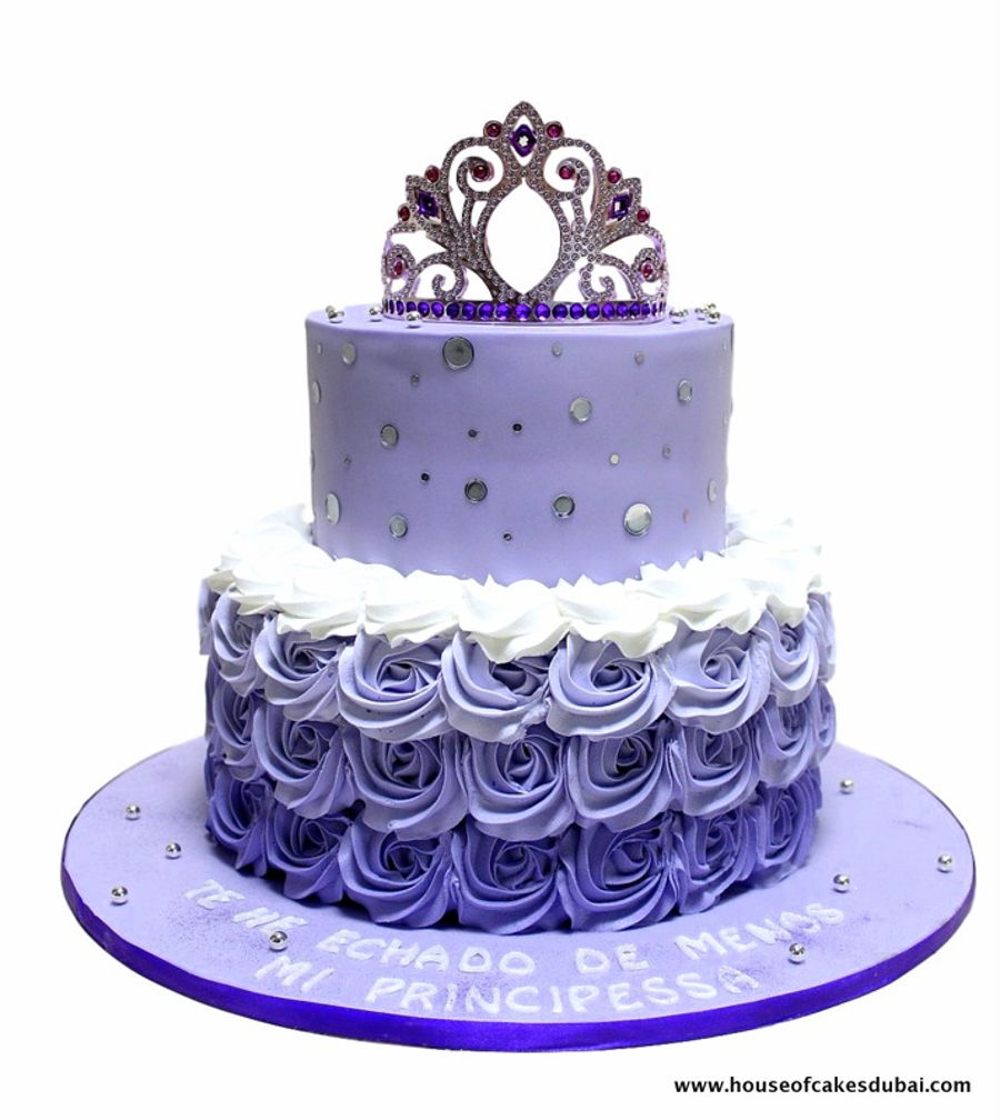 Purple Ombre Cake With Crown Cakecentral Com