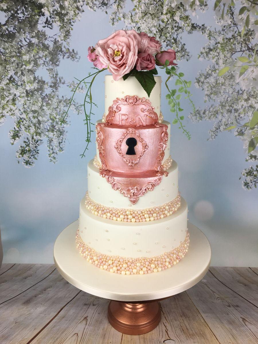 Rose Gold Gilded Lock Wedding Cake - CakeCentral.com