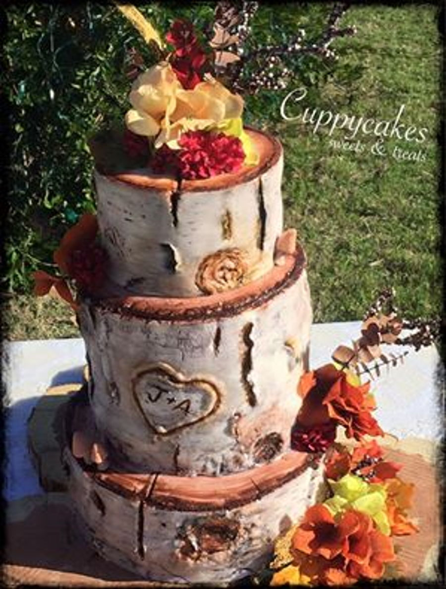 Rustic Birch Log Wedding Cake on Cake Central