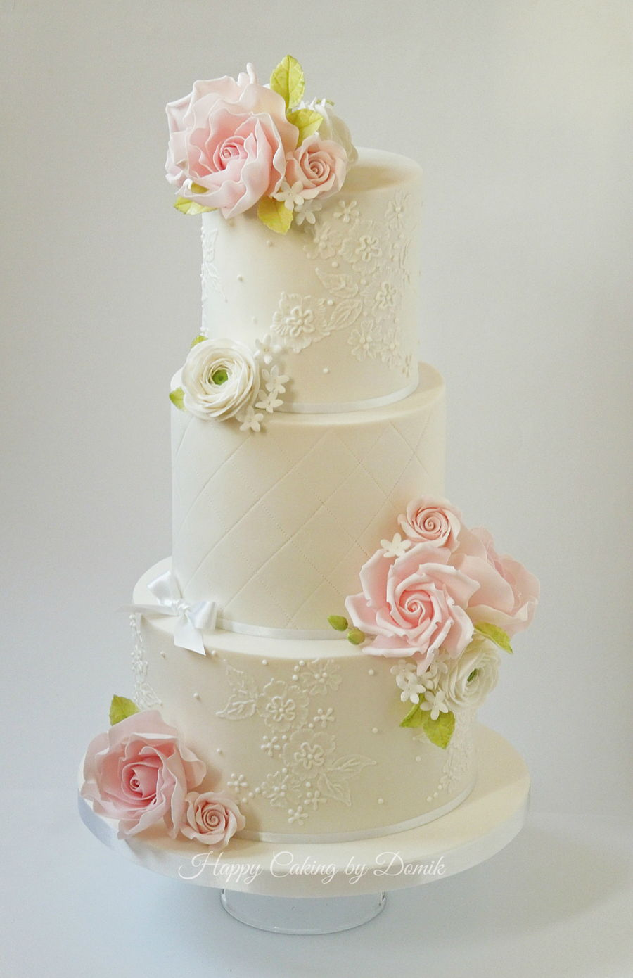 Wedding Cake With Pink Roses Cakecentral Com