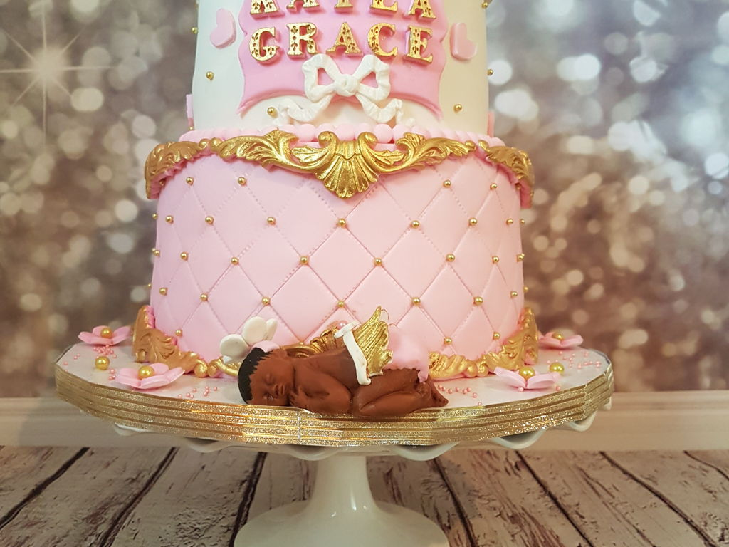 Pink Gold And White Baby Shower Cake Cakecentral