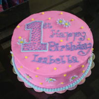 1St Birthday Cake   Girly first birthday cake with gumpaste daisys 4/2009