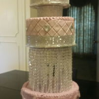 3 Tier Pink And Bling 3 Tier - 6, 8, & 10 pink, bling, and pearl