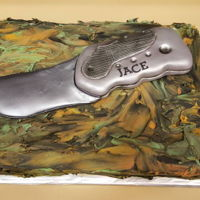 Camouflage Cake Made for a very special child who loves collecting pocket knives