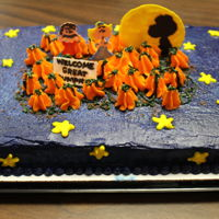 Charlie Brown Great Pumpkin buttercream frosting and royal icing were used