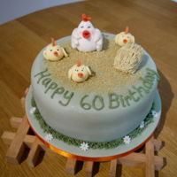 Chickens   Plain sponge with fondant.