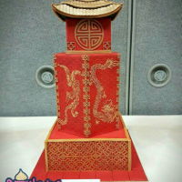 Chinese Pagoda Wedding Cake 3 Tier Chinese Pagoda Wedding cake with Dragon and Phoenix symbols