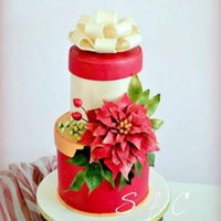 Christmas Cake Christmas cake with poinsettia