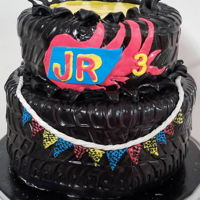 Cute Tire Cake For A Race Car Theme two tiers of cute tires for a darling boy