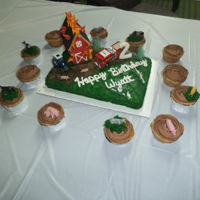 Farm Barn Fire Cake buttercream frostingroyal icing letters, number, & flamespurchased animals, tractor, & fire truckbarn: graham crackers, sugar...