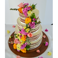 Flower Naked Cake This is a semi Naked cake for a colorful wedding