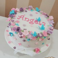 Flowers & Butterflies Birthday cake