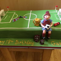 Football Cake   goals are made from modelling paste