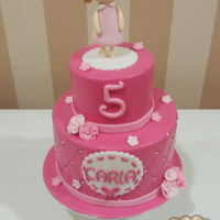Girly Birthday Cake Girly birthday cake with fondant topper