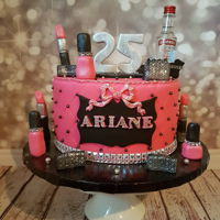 Gurly Makeup Cake Pink Black And Silver Gurly makeup cake pink black and silver