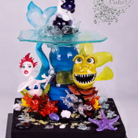 "Isomalt -""underwater"" This is my entry in CI Birmingham 2016- Decorative Exhibit, all made out of Isomalt 98% all Hand made, Just couple moulds used. I love..."