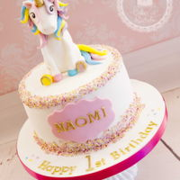 Little Unicorn Cake Gorgeous cake for a 1st birthday, with a dash of sprinkles, a smidge of gold and topped off with a magical unicorn!