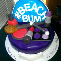 Makeup Cake This a makeup cake I made for a friend's birthday. The makeup bag is also cake covered in fondant and all the makeup pieces are made...