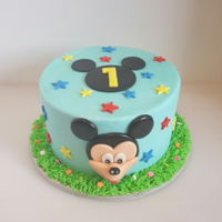 Mickey Mouse Made out of buttercream and homemade fondant details.
