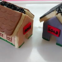 Mini Mug House Cookies   NFSC with fondant. Done for a builder who build my new house.