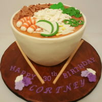 Pho Noodle Made out of chocolate cake and homemade fondant. All edible.