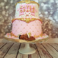 Pink Gold And White Baby Shower Cake Pink gold and white baby shower cake another baroque baby shower cake