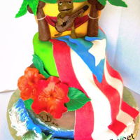 Puerto Rico Theme Puerto Rican flag with coqui playing a cuatro and hibiscus.