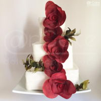 Red Carpet   a carpet of red roses …roses and branches in wafer paper painted with airbrush and edible color