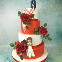 Red/ White Wedding Cake With Red Roses red/ white wedding cake with red roses, in the netherlands we have a football club PSV, they wanted a red/ white cake, with blood red roses...