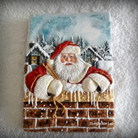 Santa Is Coming Soon....! A royal icing decorated cookie, all piped with coloured icing.