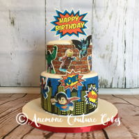 Superheroes Cake 8 and 6 inch covered in fondant with edible images