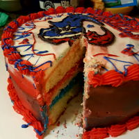 Texans Cake Watercolor Buttercream with candy melt. Very fast cake done at the last minute for my son.