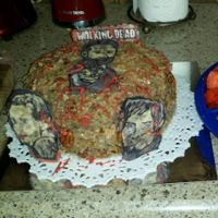 The Walking Dead German Choc. Cake, with Candy melts. Everything went wrong this day!!! My images broke a few times, and I gave up after many hours. This...