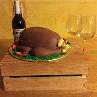 Turkey Time Airbrushed Fondant covered yellow cake. RKT wings and legs. Gumpaste veggies.