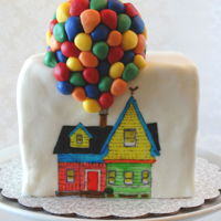 Up Cake Six inch square in Fondant with Hand Painting and Modeling Chocolate balloons.