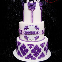 White And Purple Birthday Cake  I have to admit I love when client gives me free reign to work on their cake ;) Rebka is celebrating her 20th Birthday today, hope shes...