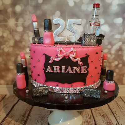 Gurly Makeup Cake Pink Black And Silver