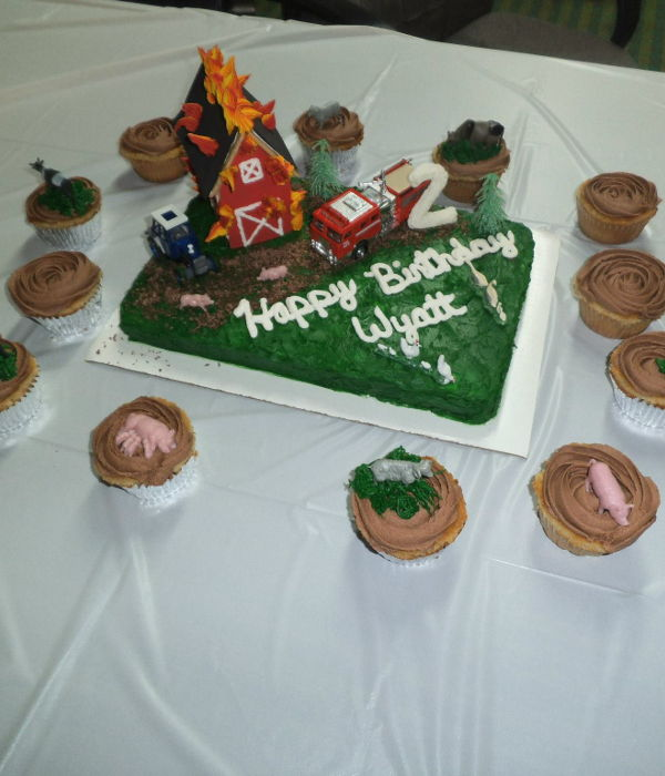 Farm Barn Fire Cake