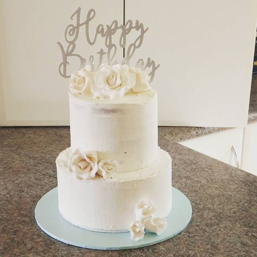 2 Tier White Chocolate Birthday Cake Cakecentral