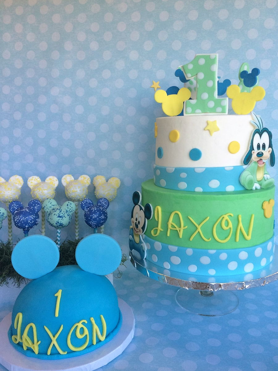 Surprising Baby Mickey 1St Birthday Cake Smash Cake Cake Pops Cakecentral Com Funny Birthday Cards Online Alyptdamsfinfo