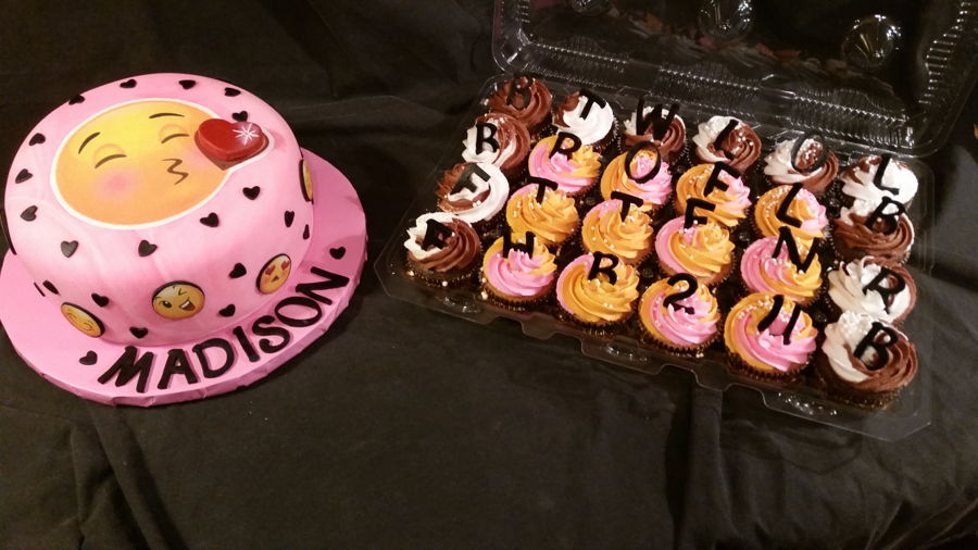 Emoji Birthday Cake With Texting Cupcakes on Cake Central
