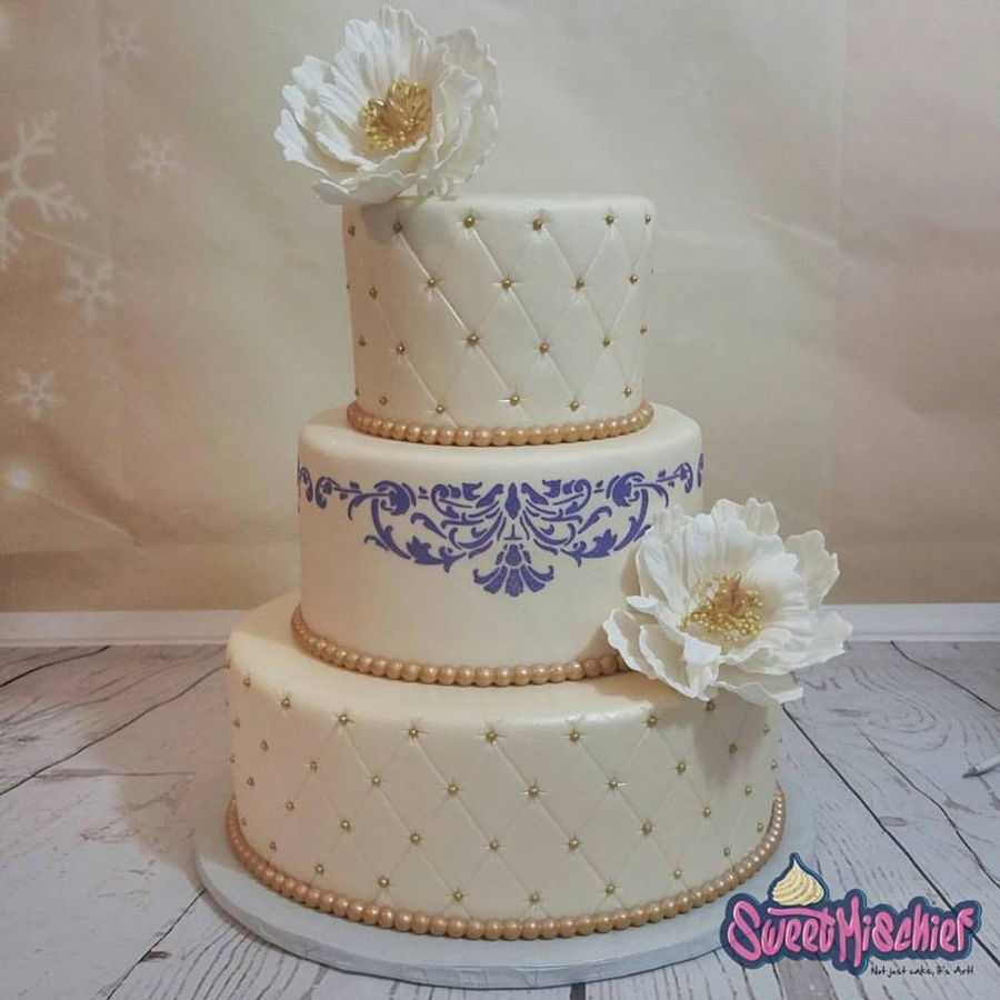 Ivory And Purple Wedding Cake on Cake Central