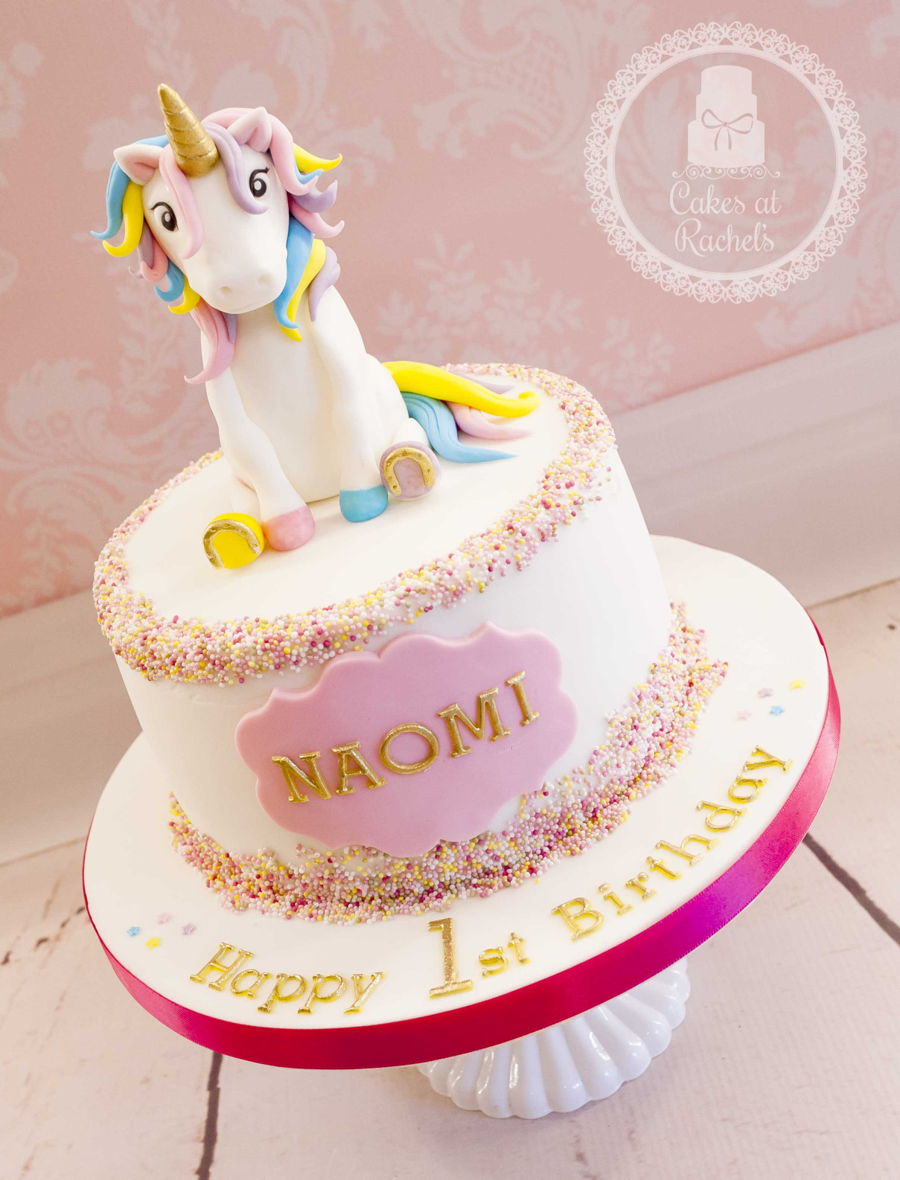 Gorgeous Cake For A 1st Birthday With Dash Of Sprinkles Smidge Gold And Topped Off Magical Unicorn