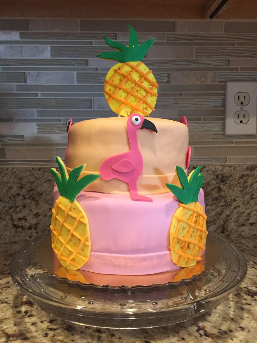 Pineapple Flamingo Cake Cakecentral Com