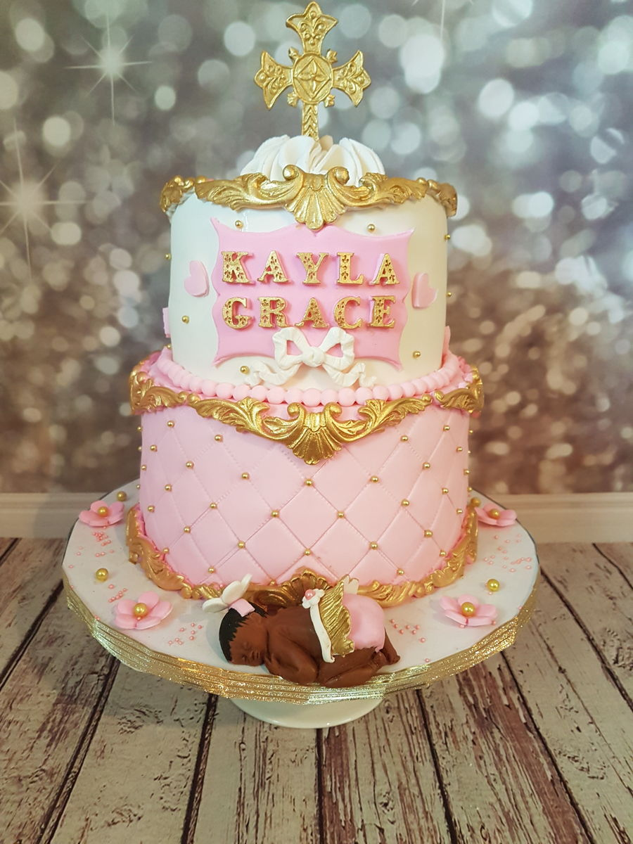 pink gold and white baby shower cakeanother baroque baby shower cake