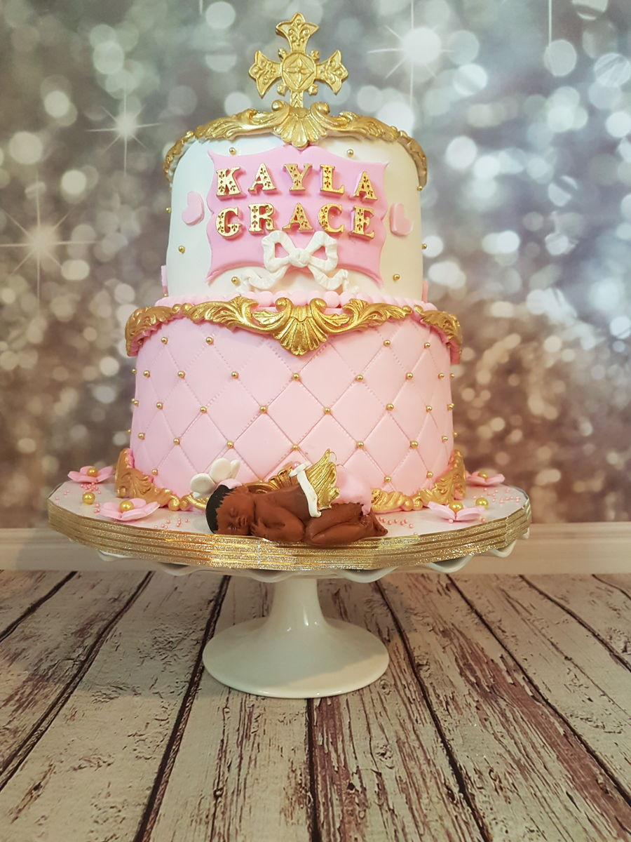 pink gold and white baby shower cake