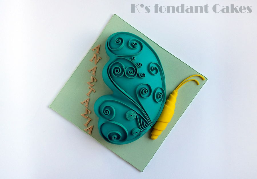 Quilled Butterfly Cake on Cake Central