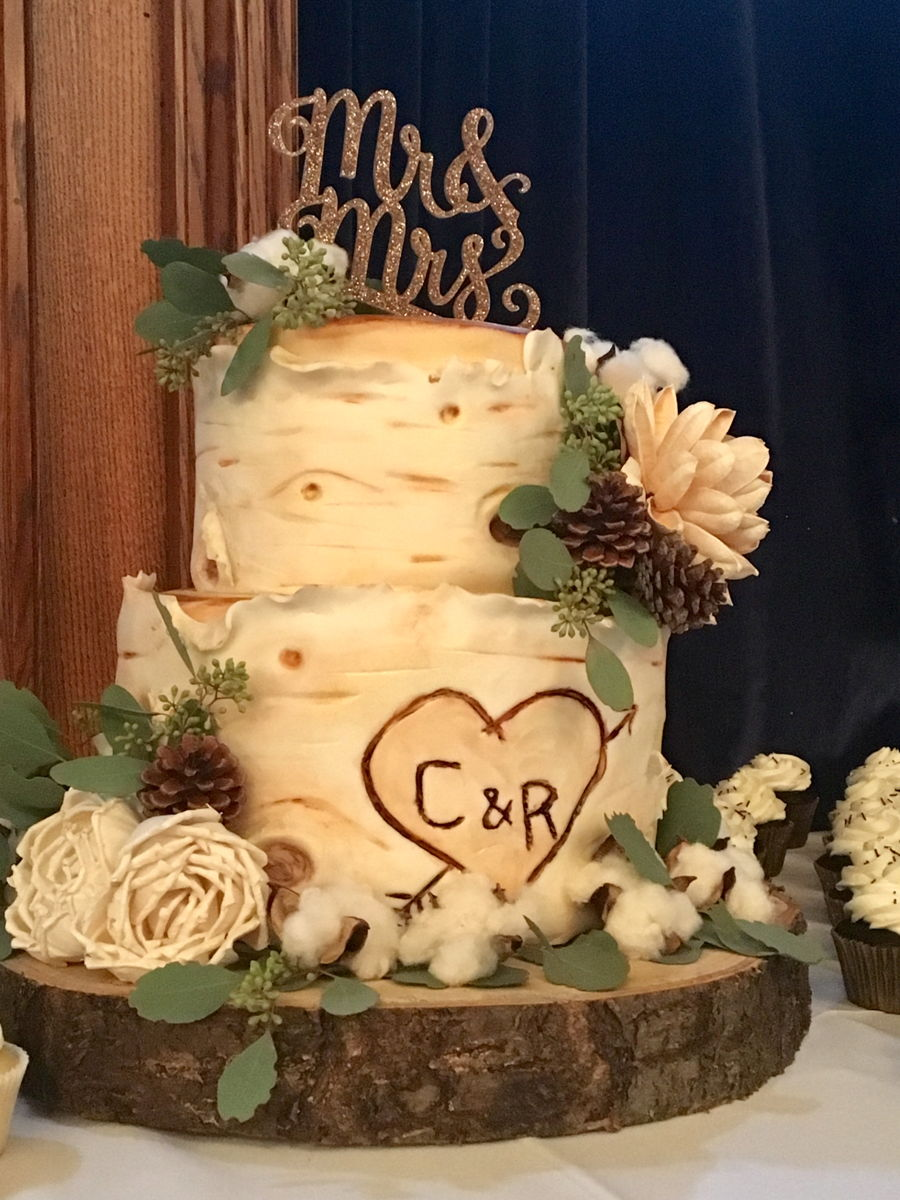 White Birch Wedding Cake on Cake Central