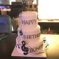 50Th Birthday Cake Use flower wires to make Music line warp around top ties