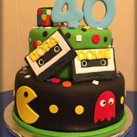 80's Themed 40Th Birthday WASC cake w/ buttercream and MMF decorations